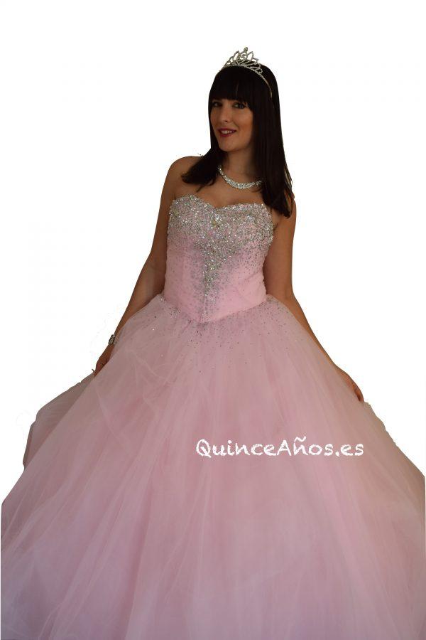 Vestido pedrería largo palabra de honor rosa