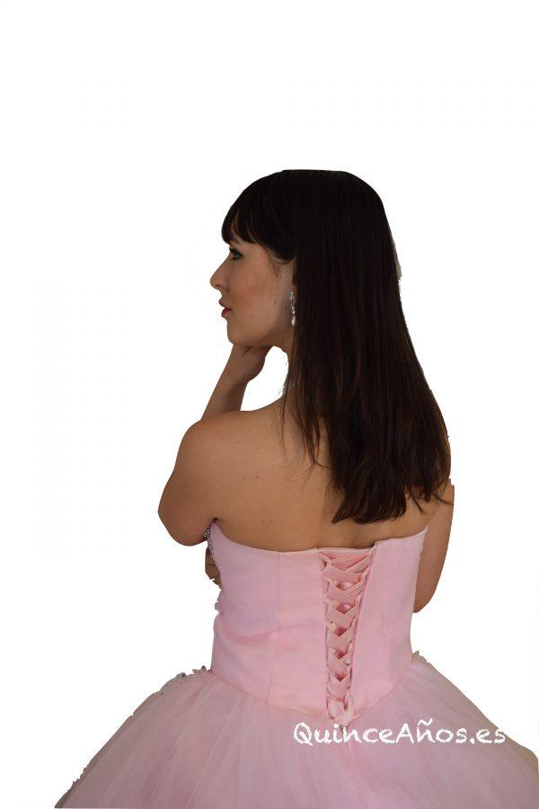 Vestido corsé con pedrería palabra de honor rosa