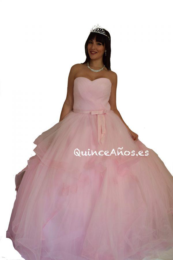Vestido largo rosa falda ancha