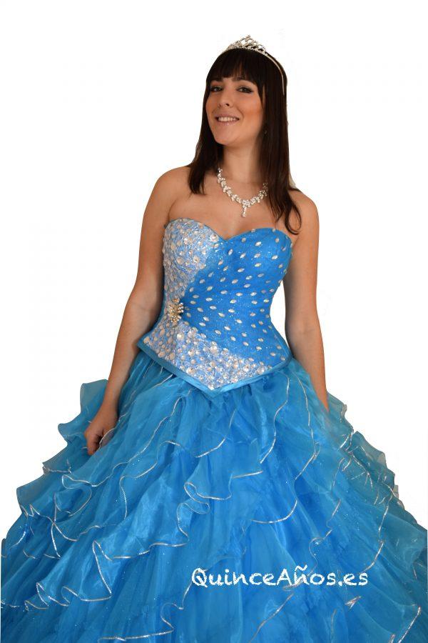 Vestido de fiesta azul celeste palabra de honor con pedrería