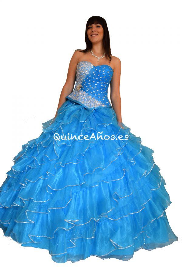 Vestido de fiesta azul celeste palabra de honor con pedrería 2 piezas