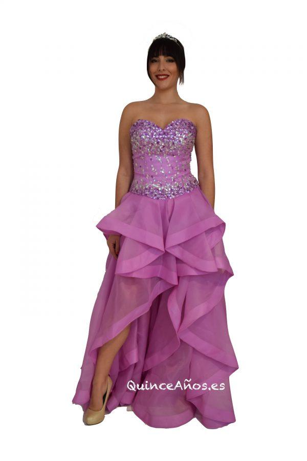 Vestido lila con frente abierto y pedreria