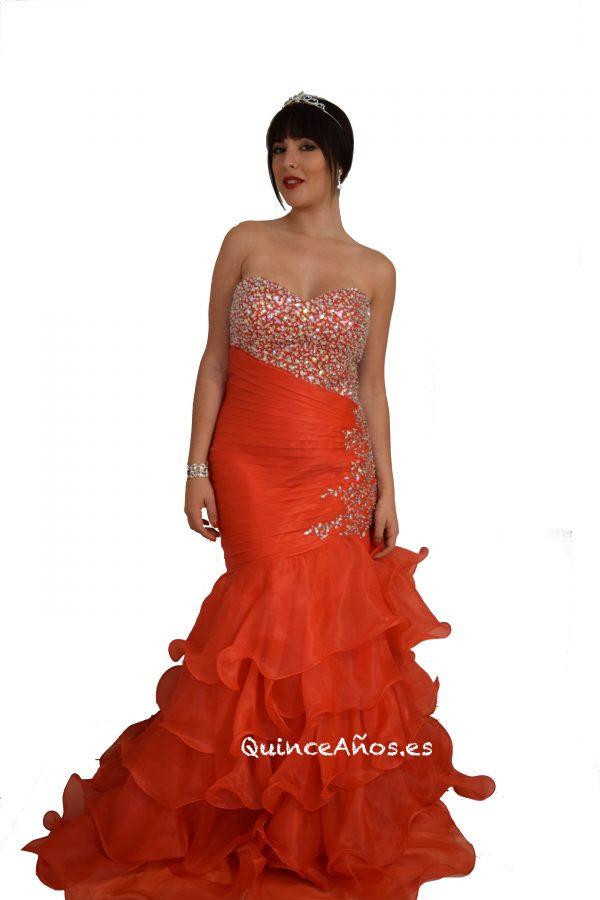 Vestido de sirena rojo con pedreria