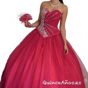 Vestido Rosa con Corsé ajustable y pedrería