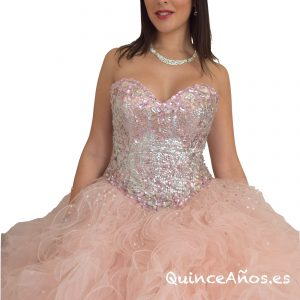 Vestido Rosa Pastel con Pedrería
