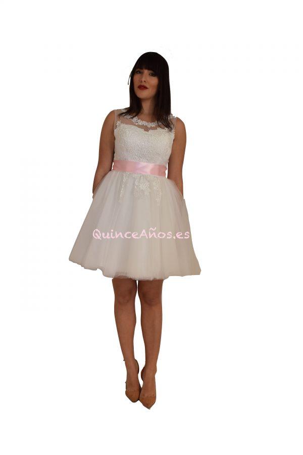 Vestido Corto Blanco de Comunión o para Dama o Acompañantes de la Quinceañera