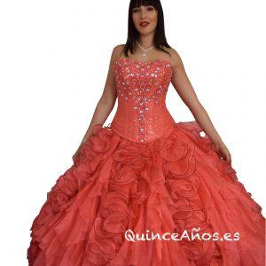 Vestido Coral con Corsé y Pedreria