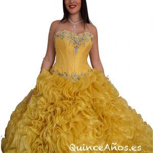 Vestido Amarillo de Princesa con Corsé ajustable