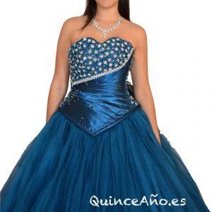 Vestido de fiesta Azul Marinopalabra de honor con pedrería