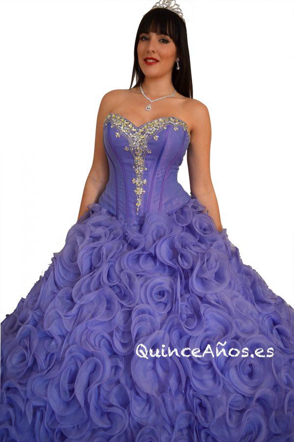 Vestido Lila de Princesa con Corsé y Chaleco