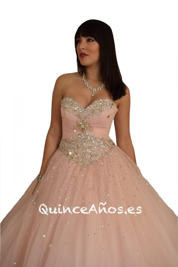 Vestido de 1 pieza con Pedreria Rosa Pastel
