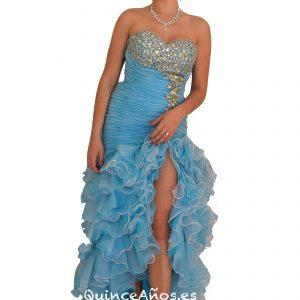 Vestido de Sirena Azul Celeste Palabra de honor con Pedrería