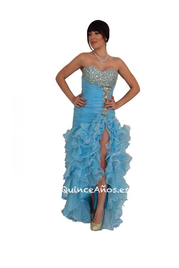 Vestido de Sirena Azul Celeste Palabra de honor con Pedrería.