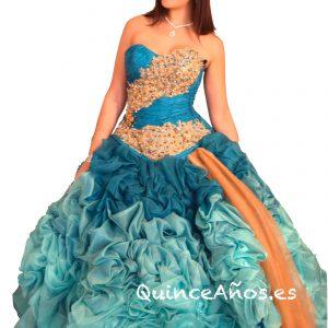 Vestido Turquesa y Dorado Palabra de honor Falda ancha y Pedrería.