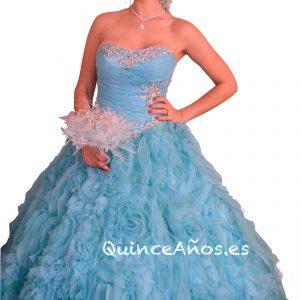 Vestido de fiesta azul celeste palabra de honor con pedrería.