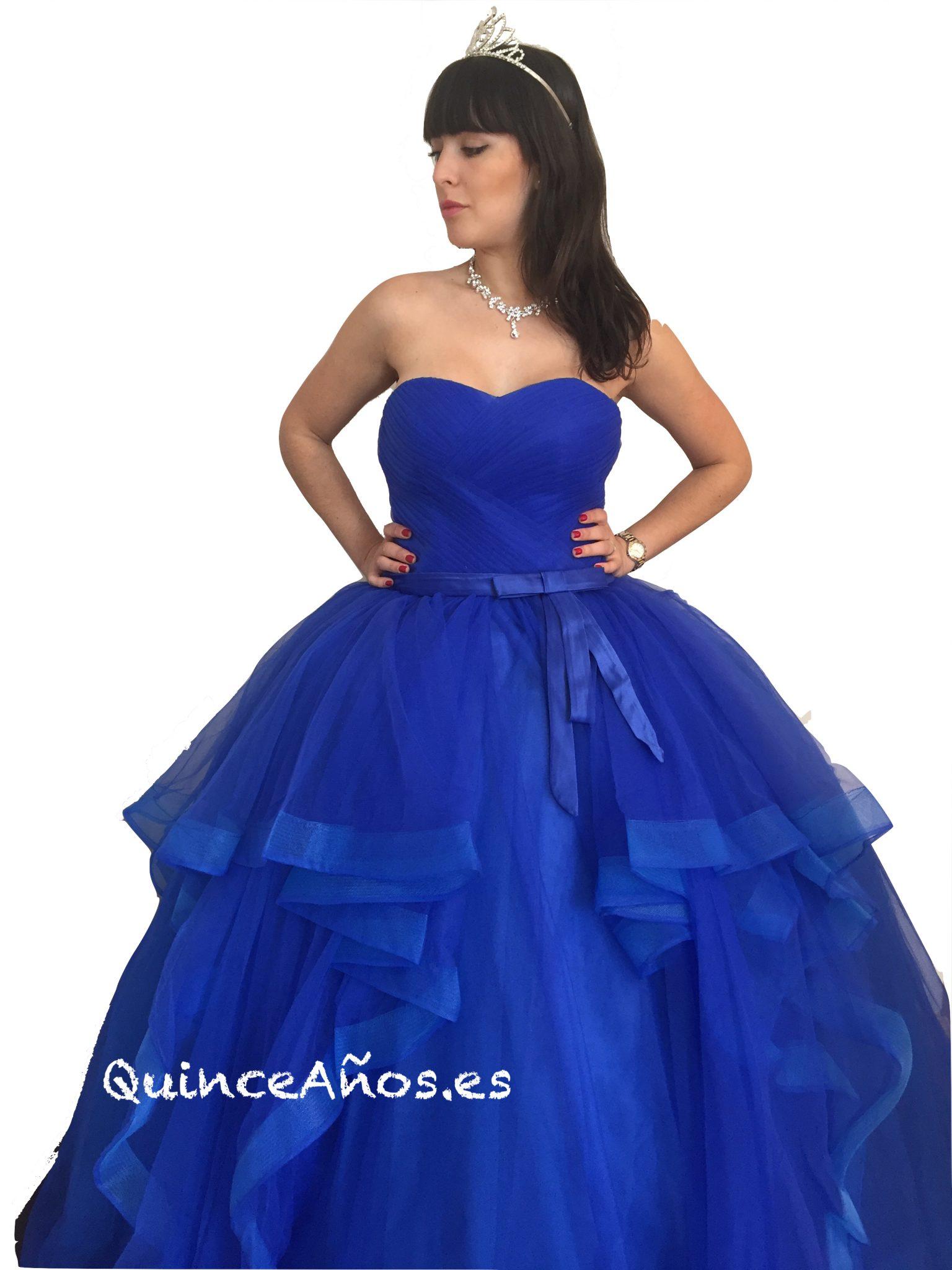 Vestido Largo Con Caída De Cascada Azul Marino