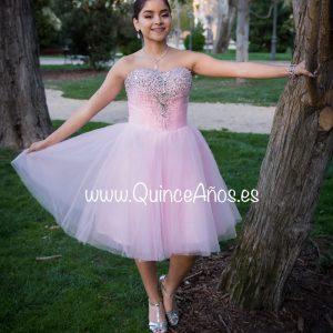 vestido corto rosa pedreria