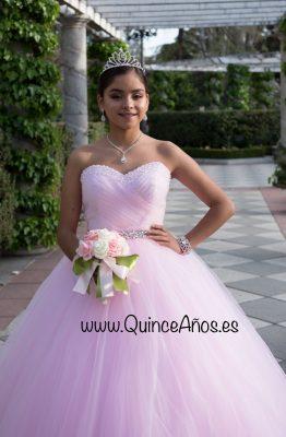Vestido rosa quinceañera