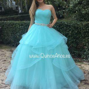 vestido 15 años turquesa